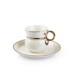 Acar Home - Acar Altın Kulplu Porselen 6lı <br>Kahve Fincan Takımı Beyaz 9480