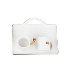 Acar Home - Acar SHP-9863/12 2 Kişilik Porselen <br> Kahve Fincan Takımı Beyaz