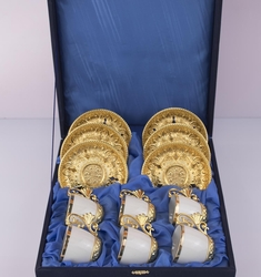 Busem - Busem 6 Kişilik Beyaz Gold Kahve Fincan Seti