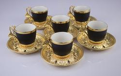 Busem - Busem 6 Kişilik Siyah Gold Kahve Fincan Seti Karton Kutulu