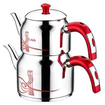 OMS Çelik <br> Çaydanlık Takım 8043 <br> Kırmızı- Büyük Aile Boyu