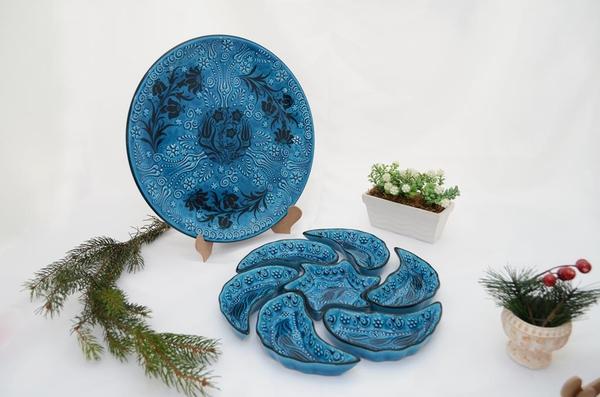 porselenshop - Çini Rüzgargülü Çerezlik 7 Parça mavi