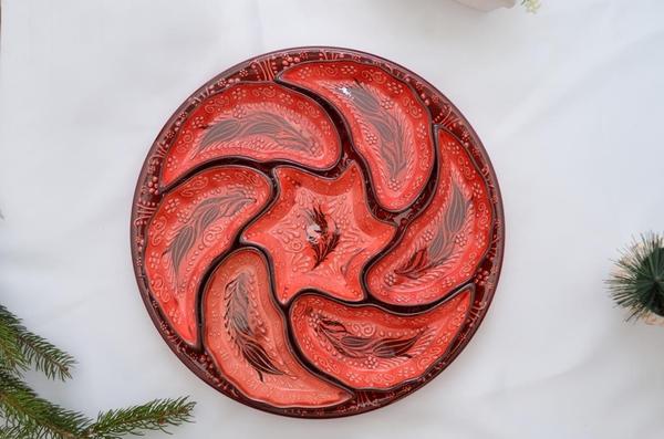 porselenshop - Çini Rüzgargülü Çerezlik 7 Parça Kırmızı