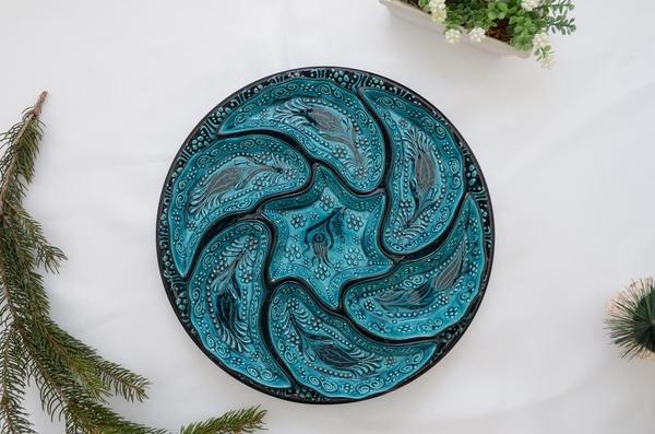 porselenshop - Çini Rüzgargülü Çerezlik-kahvaltılık 7 Parça yeşil