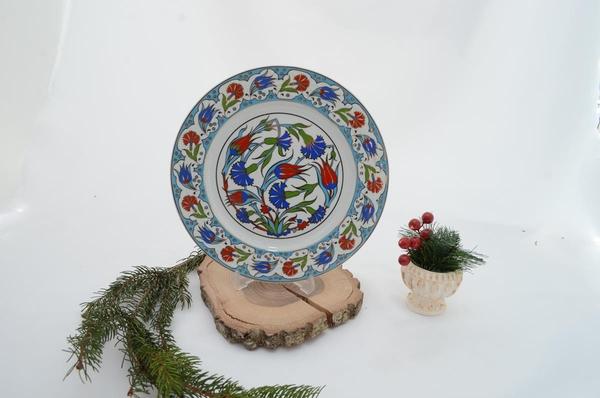porselenshop - el dekorlu porselen tabak turkuaz
