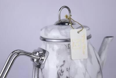 Elite Class Emaye Çaydanlık Beyaz Mermer Desen