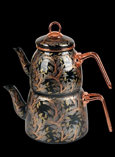 Paçi - Emaye Çaydanlık Seti Yaprak Desen