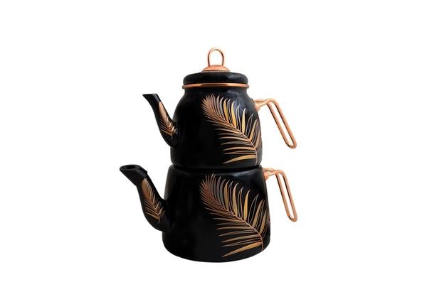 Paçi - Emaye Çaydanlık Takımı Tüy Desen
