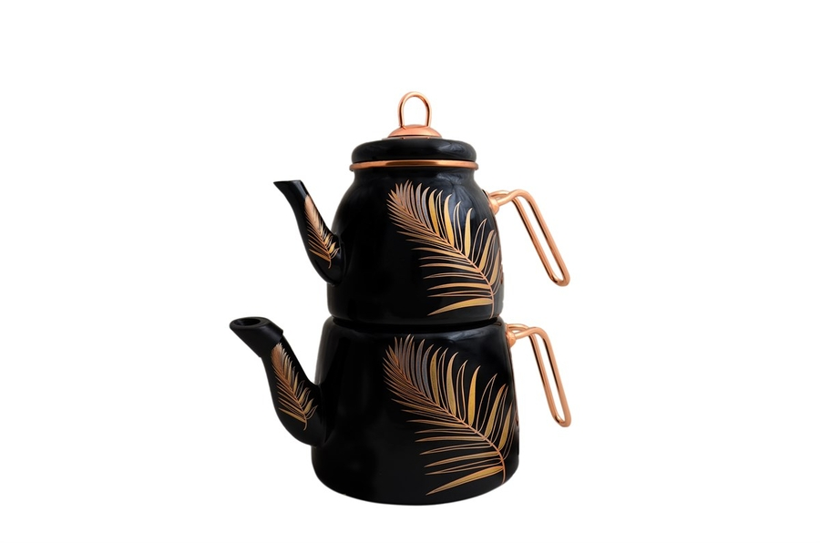 Emaye Çaydanlık Takımı Tüy Desen