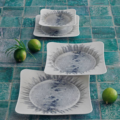 Yemek Seti Güral Porselen <br> 24 Parça 6 Kişilik Digibone Spinoza <br> Kare Yemek Takımı <br> GBSSPN24Y41018902