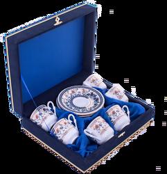 Güral Porselen - Fincan Takımı Güral Porselen <br> 12 Parça 6 Kişilik El Dekoru Tarzı <br> Altın Yaldızlı Kahve Fincan Takımı <br> Kadife Kutulu ORN 602