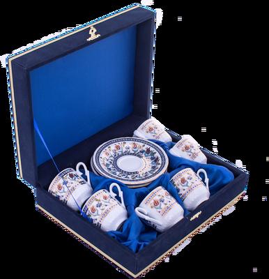 Fincan Takımı Güral Porselen <br> 12 Parça 6 Kişilik El Dekoru Tarzı <br> Altın Yaldızlı Kahve Fincan Takımı <br> Kadife Kutulu ORN 602