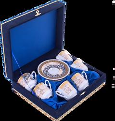 Güral Porselen - Fincan Takımı Güral Porselen <br> 12 Parça 6 Kişilik El Dekoru Tarzı <br> Altın Yaldızlı Kahve Fincan Takımı <br> Kadife Kutulu ORN 608