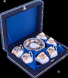 Güral Porselen - Fincan Takımı Güral Porselen <br> 12 Parça 6 Kişilik El Dekoru Tarzı <br> Altın Yaldızlı Kahve Fincan Takımı <br> Kadife Kutulu ORN 609