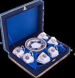 Güral Porselen - Fincan Takımı Güral Porselen <br> 12 Parça 6 Kişilik El Dekoru Tarzı <br> Altın Yaldızlı Kahve Fincan Takımı <br> Kadife Kutulu ORN 610