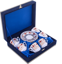 Güral Porselen - Fincan Takımı Güral Porselen <br> 12 Parça 6 Kişilik El Dekoru Tarzı <br> Altın Yaldızlı Kahve Fincan Takımı <br> Kadife Kutulu ORN 614