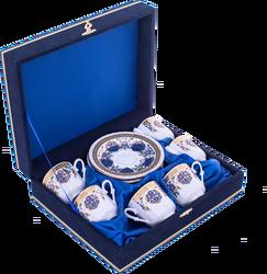 Güral Porselen - Fincan Takımı Güral Porselen <br> 12 Parça 6 Kişilik El Dekoru Tarzı <br> Altın Yaldızlı Kahve Fincan Takımı <br> Kadife Kutulu ORN 615