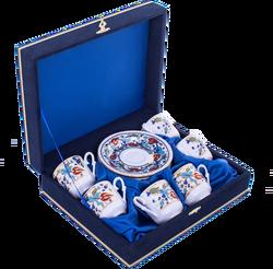 Güral Porselen - Fincan Takımı Güral Porselen <br> 12 Parça 6 Kişilik El Dekoru Tarzı <br> Altın Yaldızlı Kahve Fincan Takımı <br> Kadife Kutulu ORN 618