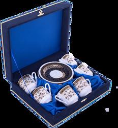 Güral Porselen - Fincan Takımı Güral Porselen <br> 12 Parça 6 Kişilik El Dekoru Tarzı <br> Altın Yaldızlı Kahve Fincan Takımı <br> Kadife Kutulu ORN 621
