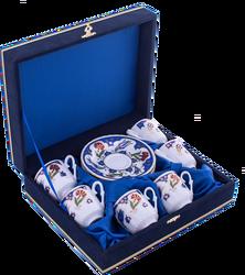 Güral Porselen - Fincan Takımı Güral Porselen <br> 12 Parça 6 Kişilik El Dekoru Tarzı <br> Altın Yaldızlı Kahve Fincan Takımı <br> Kadife Kutulu ORN 629