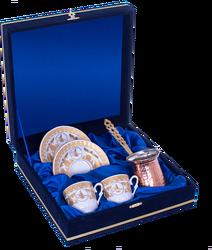 Güral Porselen - Kahve Fincanı Güral Porselen <br> 5 Parça İki Kişilik El Dekoru Tarzı <br> Altın Yaldızlı Kahve Fincan Takımı <br> Kadife Kutulu Bakır Cezveli ORN 754