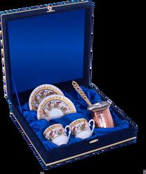 Güral Porselen - Kahve Fincanı Güral Porselen <br> 5 Parça İki Kişilik El Dekoru Tarzı <br> Altın Yaldızlı Kahve Fincan Takımı <br> Kadife Kutulu Bakır CezveliORN 757