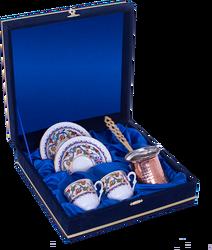 Güral Porselen - Kahve Fincanı Güral Porselen <br> 5 Parça İki Kişilik El Dekoru Tarzı <br> Altın Yaldızlı Kahve Fincan Takımı <br> Kadife Kutulu Bakır Cezveli ORN761