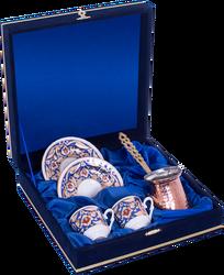 Güral Porselen - Kahve Fincanı Güral Porselen <br> 5 Parça 2 Kişilik El Dekoru Tarzı <br> Altın Yaldızlı Kahve Fincan Takımı <br> Kadife Kutulu Bakır Cezveli ORN 763