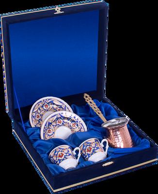 Kahve Fincanı Güral Porselen <br> 5 Parça 2 Kişilik El Dekoru Tarzı <br> Altın Yaldızlı Kahve Fincan Takımı <br> Kadife Kutulu Bakır Cezveli ORN 763