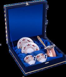 Güral Porselen - Kahve Fincanı Güral Porselen <br> 5 Parça İki Kişilik El Dekoru Tarzı <br> Altın Yaldızlı Kahve Fincan Takımı <br> Kadife Kutulu Bakır Cezveli ORN 767