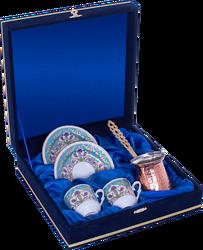 Güral Porselen - Kahve Fincanı Güral Porselen <br> 5 Parça İki Kişilik El Dekoru Tarzı <br> Altın Yaldızlı Kahve Fincan Takımı <br> Kadife Kutulu Bakır Cezveli ORN 769