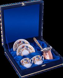 Güral Porselen - Kahve Fincanı Güral Porselen <br> 5 Parça İki Kişilik El Dekoru Tarzı <br> Altın Yaldızlı Kahve Fincan Takımı <br> Kadife Kutulu Bakır Cezveli ORN 771