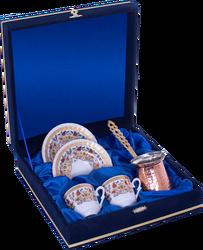Güral Porselen - Kahve Fincanı Güral Porselen <br> 5 Parça İki Kişilik El Dekoru Tarzı <br> Altın Yaldızlı Kahve Fincan Takımı <br> Kadife Kutulu Bakır Cezveli ORN 773