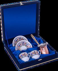 Güral Porselen - Kahve Fincanı Güral Porselen <br> 5 Parça İki Kişilik El Dekoru Tarzı <br> Altın Yaldızlı Kahve Fincan Takımı <br> Kadife Kutulu Bakır Cezveli ORN 775