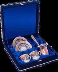 Güral Porselen - Kahve Fincanı Güral Porselen <br> 5 Parça İki Kişilik El Dekoru Tarzı <br> Altın Yaldızlı Kahve Fincan Takımı <br> Kadife Kutulu Bakır Cezveli ORN 777