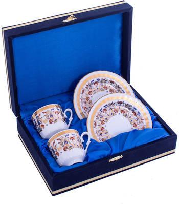 Kahve Fincanı Güral Porselen <br> 4 Parça 2 Kişilik El Dekoru Tarzı <br> Altın Yaldızlı Kahve Fincan Takımı <br> Kadife Kutulu ORN 701