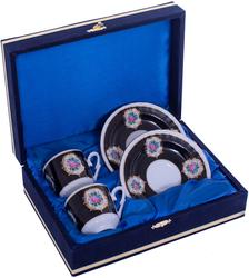 Güral Porselen - Kahve Fincanı Güral Porselen <br> 4 Parça 2 Kişilik El Dekoru Tarzı <br> Altın Yaldızlı Kahve Fincan Takımı <br> Kadife Kutulu ORN 702