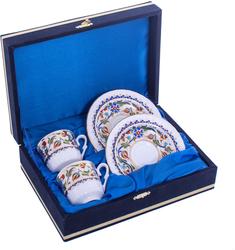 Güral Porselen - Kahve Fincanı Güral Porselen <br> 4 Parça 2 Kişilik El Dekoru Tarzı <br> Altın Yaldızlı Kahve Fincan Takımı <br> Kadife Kutulu ORN 703