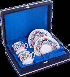 Güral Porselen - Kahve Fincanı Güral Porselen <br> 4 Parça 2 Kişilik El Dekoru Tarzı <br> Altın Yaldızlı Kahve Fincan Takımı <br> Kadife Kutulu ORN 707