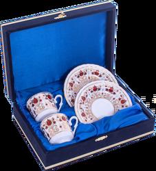 Güral Porselen - Kahve Fincanı Güral Porselen <br> 4 Parça 2 Kişilik El Dekoru Tarzı <br> Altın Yaldızlı Kahve Fincan Takımı <br> Kadife Kutulu ORN 709