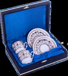 Güral Porselen - Kahve Fincanı Güral Porselen <br> 4 Parça 2 Kişilik El Dekoru Tarzı <br> Altın Yaldızlı Kahve Fincan Takımı <br> Kadife Kutulu ORN 711