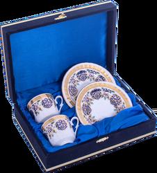 Güral Porselen - Kahve Fincanı Güral Porselen <br> 4 Parça 2 Kişilik El Dekoru Tarzı <br> Altın Yaldızlı Kahve Fincan Takımı <br> Kadife Kutulu ORN 712