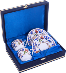 Güral Porselen - Kahve Fincanı Güral Porselen <br> 4 Parça 2 Kişilik El Dekoru Tarzı <br> Altın Yaldızlı Kahve Fincan Takımı <br> Kadife Kutulu ORN 713