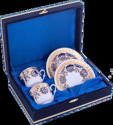 Güral Porselen - Kahve Fincanı Güral Porselen <br> 4 Parça 2 Kişilik El Dekoru Tarzı <br> Altın Yaldızlı Kahve Fincan Takımı <br> Kadife Kutulu ORN 714