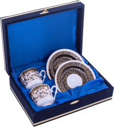 Güral Porselen - Kahve Fincanı Güral Porselen <br> 4 Parça 2 Kişilik El Dekoru Tarzı <br> Altın Yaldızlı Kahve Fincan Takımı <br> Kadife Kutulu ORN 715