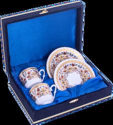 Güral Porselen - Kahve Fincanı Güral Porselen <br> 4 Parça 2 Kişilik El Dekoru Tarzı <br> Altın Yaldızlı Kahve Fincan Takımı <br> Kadife Kutulu ORN 716