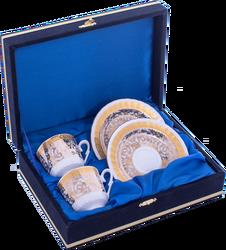 Güral Porselen - Kahve Fincanı Güral Porselen <br> 4 Parça 2 Kişilik El Dekoru Tarzı <br> Altın Yaldızlı Kahve Fincan Takımı <br> Kadife Kutulu ORN 717