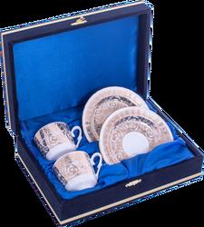 Güral Porselen - Kahve Fincanı Güral Porselen <br> 4 Parça 2 Kişilik El Dekoru Tarzı <br> Altın Yaldızlı Kahve Fincan Takımı <br> Kadife Kutulu ORN 719