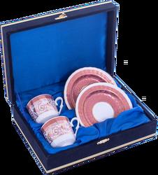 Güral Porselen - Kahve Fincanı Güral Porselen <br> 4 Parça 2 Kişilik El Dekoru Tarzı <br> Altın Yaldızlı Kahve Fincan Takımı <br> Kadife Kutulu ORN 720