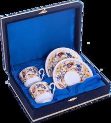 Güral Porselen - Kahve Fincanı Güral Porselen <br> 4 Parça 2 Kişilik El Dekoru Tarzı <br> Altın Yaldızlı Kahve Fincan Takımı <br> Kadife Kutulu ORN 721